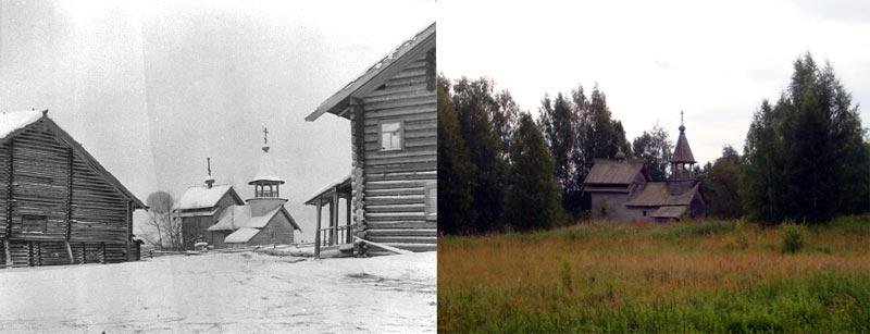 Часовня в деревне Селецкое. 1943 и 2009 год.